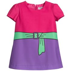 5b22b0d13d4a Baby Girls Pink Shift Dress with Printed Belt