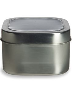 8 oz square deep container tin with clear top cover