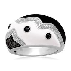 Sterling Silver Black White Enamel Black Diamond Ring (1/4 cttw, I-J Color, I2-I3 Clarity) Amazon Curated Collection. $101.27. Made In India. All our diamond suppliers certify that to their best knowledge their diamonds are not conflict diamonds.. The total diamond carat weight listed is approximate. Variances may be up to .05 carats.