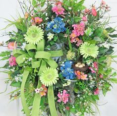 """XXL Spring & Summer Door Wreath Wreaths for all by LadybugWreaths, $189.97XXL Spring & Summer Door Wreath, Wreaths for all Seasons, Hydrangeas, Gerbers, Bird Nest This """"Wild & Woodsy"""" beautiful birch wreath is so beautiful with the blues, greens, and pinks! I know you'll love it! http://www.LadybugWreaths.com  Many wild loops and curls of fresh honeysuckle vine twisted throughout along with blue hydrangeas, salmon/pink apple blossoms, pink dahlias, and a mixture of white blossoms."""