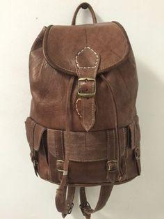 Handmade Genuine Leather Backpack Rugged Rustic Travel Bag in Brown M