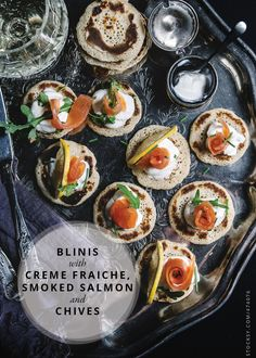 SALMON BLINIS // CREME FRAICHE AND CHIVES
