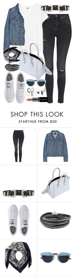 """Outfit with grey jeans and a denim jacket"" by ferned ❤ liked on Polyvore featuring Topshop, Proenza Schouler, B-Low the Belt, Givenchy, adidas, Valentino, Christian Dior and Smashbox"