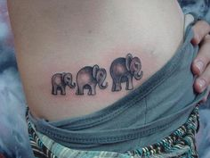Little Elephant Family Under Arm Tattoo