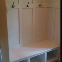 Bench and coat hooks I built in my mudroom.