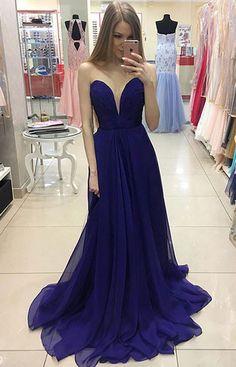 Simple A-Line Sweetheart Royal Blue Chiffon Long Prom Dress