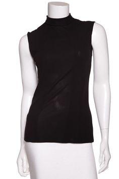Chanel Black Sleeveless Mock Neck Top SZ 38