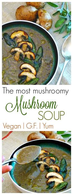 This is the most Mushroomy Mushroom Soup. Ever! Made from delicious and easy to find ingredients, this vegan soup is rich and creamy yet completely dairy free. Ideal as a starter or in shot glasses as an elegant canape. #vegan #veganrecipe #veganmushroomrecipe #vegansouprecipe #veganmushroomsoup