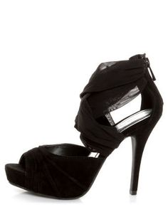 Anne Michelle Verdict 52 Black Stretchy Mesh and Suede Heels