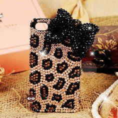 Bling iPhone 4s Case - Black Diamond Bow