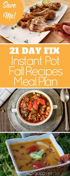 This 21 Day Fix Instant Pot fall recipes meal plan will help you stay on track throughout the busy seasons ahead. It's packed full of great recipes to try! via @bludlum