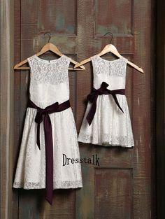 White/Ivory Lace Flower Girl Dress with Plum Purple by dresstalk, $42.99