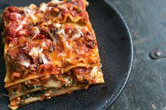 Vegetarian lasagna with spinach, mushrooms, ricotta, Mozzarella, and pecorino cheeses. So good! Great vegetarian alternative for holiday meals. #lasagna #vegetarianrecipes #holidayrecipes