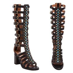 Jeffrey Campbell Badu Gladiator Black with Turquoise NIB sandals size 8 M