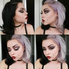 #halfandhalfhair #twotonedhair #splitdye #manicpanic #makeup #vampiremakeup #dramaticmakeup #cheekpiercings  Half and half hair | Two toned hair | Split dye | Makeup | Vampire makeup | Dramatic makeup | Cheek piercings  Instagram: __thecatsmeow_