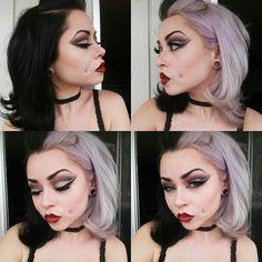 #halfandhalfhair #twotonedhair #splitdye #manicpanic #makeup #vampiremakeup #dramaticmakeup #cheekpiercings  Half and half hair | Two toned hair | Split dye | Makeup | Vampire makeup | Dramatic makeup | Cheek piercings  Instagram: __thecatsmeow_
