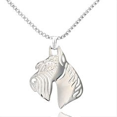 Giant Schnauzer Dog Pendant Necklaces Women Silver Plated Hollow Animal Pet Memorial Jewelry For Pet Lovers