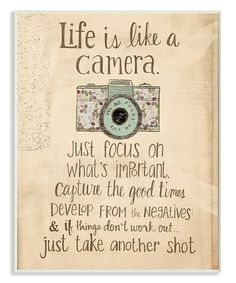 Another great find on #zulily! 'Life is Like a Camera' Wall Art #zulilyfinds