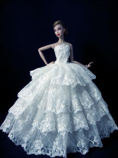 Fashion Royalty White Lace Gown Princess Wedding Dress For Barbie doll