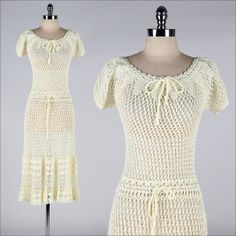 vintage 1970s dress . buttery yellow crochet by millstreetvintage, $125.00