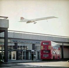 Concorde over Hatton Cross tube, London, 1976 Until the extension to the Heathrow terminal was opened in this station was the closest Underground stop to the airport. (Photo by John Wender/. Vintage London, Old London, West London, London History, British History, Concorde, Concord Airplane, London Bus, London City