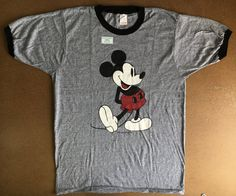 66172220b MICKEY MOUSE Shirt 70's Vintage/ NEW! Never Worn Classic Print Tri-blend  Rayon Ringer Tshirt/ Walt Disney Tropix Togs UsA Large Perfect