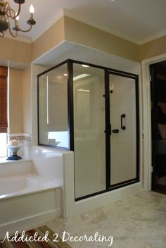 Bathroom makeover, but how to paint brass shower enclosure and sink fixtures is the best money saver! Do It Yourself Design, Architecture Design, Shower Enclosure, Shower Doors, Diy Home Improvement, Master Bathroom, Master Tub, Bathroom Doors, Home Remodeling