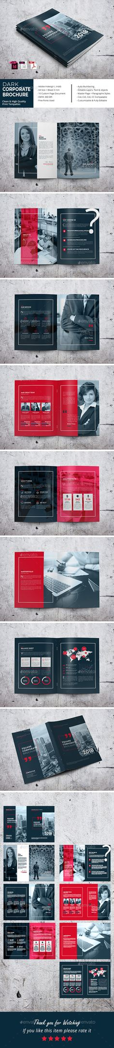 Dark Corporate Brochure Template InDesign INDD - 16 Pages