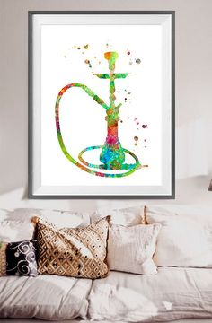 Shisha watercolor Print Hookah art Archival by WatercolorBook