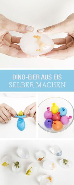 DIY-Anleitung: Dino-Eier aus Eis selber machen, besondere Eiswürfel für den Kindergeburtstag / DIY tutorial: making dinosaur eggs made of ice, special ice cubes for children's birthday party via http://DaWanda.com