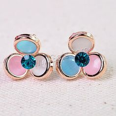 #Rhinestone #Stud #Earring with Cats Eye, Three Leaf Clover mixed colors.