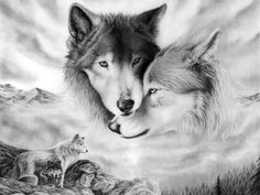 couples wolf tattoos | pair of wolves - drawing, couple, wolves, black and white, two
