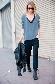lace top e t-shirt look