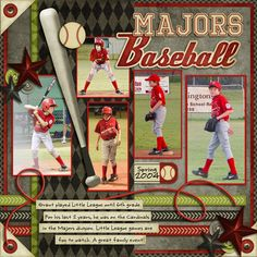 images about Scrapbook Layouts Baseball Scrapbook, Scrapbook Paper Crafts, Scrapbook Cards, Scrapbook Photos, Kids Scrapbook, Christmas Scrapbook, Scrapbook Layout Sketches, Scrapbooking Layouts, Scrapbook Examples