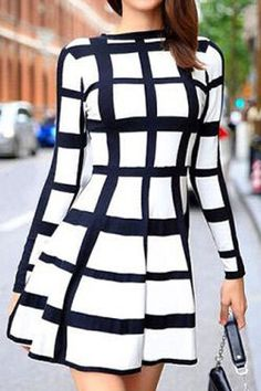 Trendy Rodada Long Neck Sleeve Plaid Dress For Women