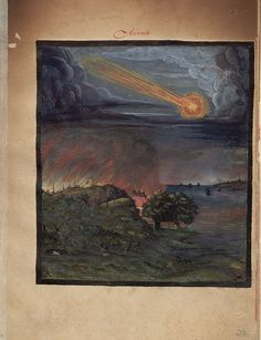 Aurora - Selection from Kometenbuch, written in 1587, a book containing descriptions of comets and hand painted illustrations.