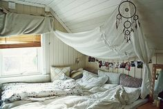The dream catcher is so perfect for the canopy and expansive mattress...