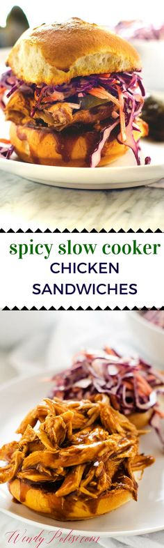 Spicy Slow Cooker Chicken Sandwiches - This slow cooker meal is so ...