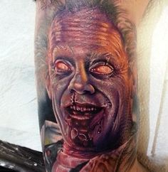 Zombie Doc Brown from back to the future done by Bummer from Frontyard tattoo studio in Adelaide Australia