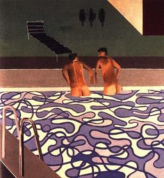 David Hockney Two Boys in the Pool, Hollywood 1965 David Hockney Artist, David Hockney Paintings, Robert Rauschenberg, Jasper Johns, Edward Hopper, Andy Warhol, Richard Hamilton, James Rosenquist, Pop Art Movement