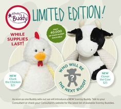 Spring on the Scentsy Buddy Farm! These are the new buddies for the new catalog, but numbers are limited.