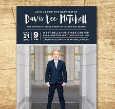 Items similar to LDS Baptism Invitation - Modern Baptism Announcement, digital design, printable baptism announcement on Etsy Baptism Invitations, Custom Invitations, Invitation Ideas, Lds, Boy Baptism, Baptism Ideas, Baptism Announcement, Baptism Photography, Mormons