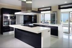 Modern-kitchen : Elegant Black And White Kitchen Design Ideas Contemporary Black ~ Glubdub Contemporary Kitchen Interior, White Kitchen Interior, Modern Kitchen Design, Interior Design Kitchen, Contemporary Homes, Interior Ideas, Black Kitchens, Cool Kitchens, Modern Kitchens