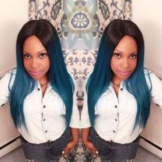 😘#HairInspiration. beautiful ombre blue hair 😍 #hair #hairstyle #bluehair #ombre #straighthair #beautifulhair #beauty #fashion Brow Color, 360 Lace Wig, Human Hair Lace Wigs, Blue Ombre, African Americans, Lace Tops, Ombre Hair, Blue Hair, Lace Front Wigs