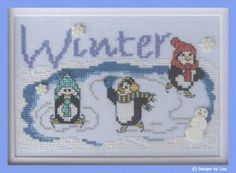 """A cute cross stitch pattern featuring penguins skating on an icy pond in this design from Designs by Lisa titled """"Winter on Penguin Pond""""."""
