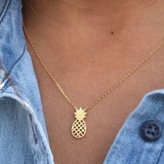 Pineapple gold silver necklace summer  Gold or silver available metal alloy. Ships immediately. For more style inspiration follow my blog:  WearInLA.com    IG: @wearinla Twitter: @wearinla Pinterest : @wearinla Wearinla Jewelry Necklaces