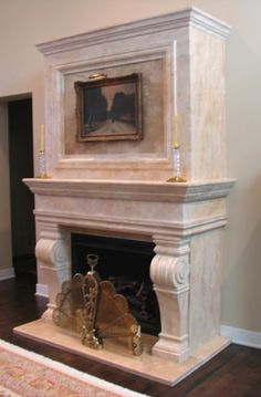 travertine fireplace with a square overmantel. All natural carved stone.