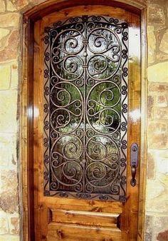 Wrought Iron Door from Faux Iron Design. An idea for side windows on front door. The Doors, Entry Doors, Windows And Doors, Entryway, Eclectic Front Doors, Do It Yourself Design, Plafond Design, Wrought Iron Doors, Unique Doors