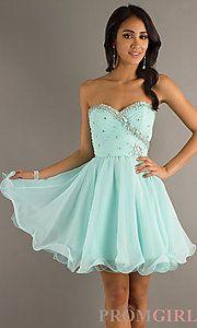 Buy Short Strapless Beaded Babydoll Dress at PromGirl