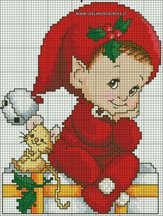 Folletto natalizio schema punto croce by вышивка вышивка крестом Cross Stitch Christmas Ornaments, Xmas Cross Stitch, Christmas Embroidery, Modern Cross Stitch, Christmas Cross, Cross Stitching, Needlepoint Patterns, Counted Cross Stitch Patterns, Cross Stitch Charts